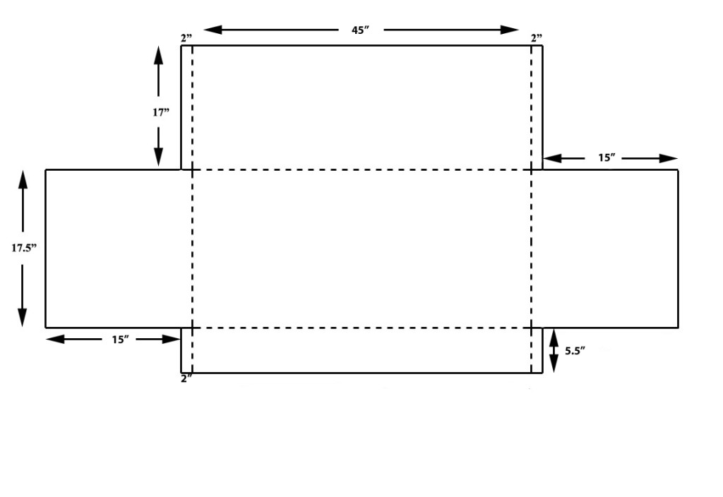 Fig. 6. Template for overall box; dotted lines should be scored for folding.
