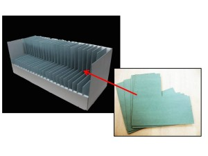"""Figure 2. """"L""""-shaped dividers used to create space and support for each basket."""