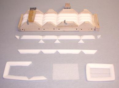 Components for creating bumper tray inserts.