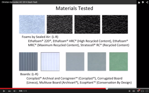 Screenshot of the materials tested for my research.