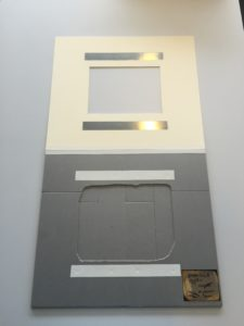 Figure 9: Base and magnetic over-mat completed, with the over-mat attached with linen tape; note the facsimile placed on the lower right corner.