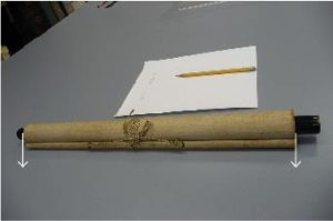 Fig. 9 - Measure the width of the scroll mounting excluding the scroll knobs. In this case, the scroll mounting is 2 feet 3 inches (27 inches) wide.