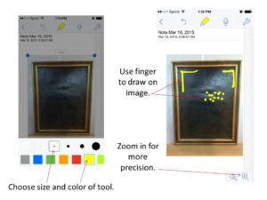 Choose pencil or highlighter tool, select size and color, and draw directly on image with finger to mark areas of damage.