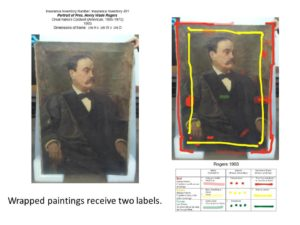 Print-out of annotated image is attached to wrapped painting alongside identification label.