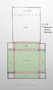"""Fig. 5. Measured internal dimensions required in green, with 1/8"""" additional for each folded edge of corrugated blueboard."""
